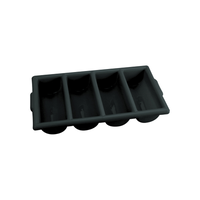 Chef Inox Cutlery Box 4 Compartment Black
