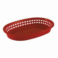 Red Plastic Rectangle Bread Basket